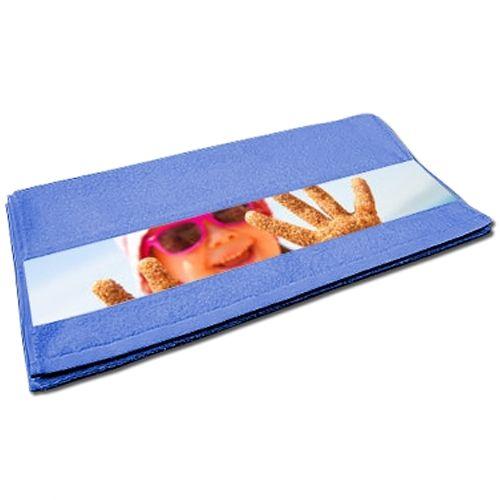 Serviette invitée bleue personnalisée photo