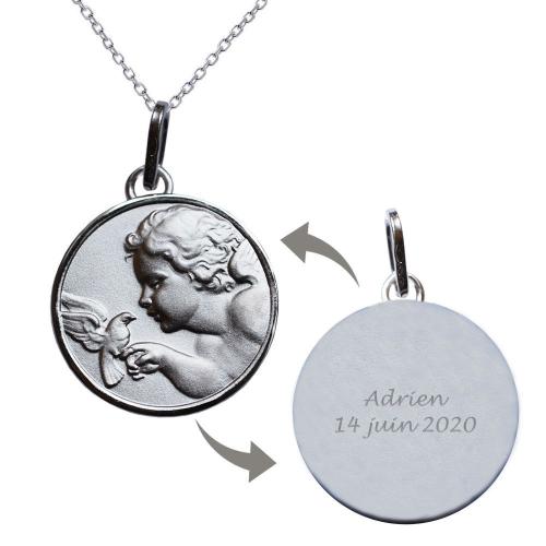 Médaille ange à la colombe gravée