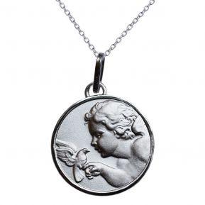 Médaille ange à la colombe en argent massif gravée