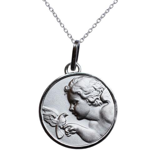 Médaille ange à la colombe en argent massif