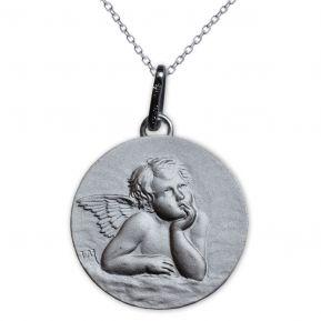 Médaille Ange Raphaël en argent massif gravée