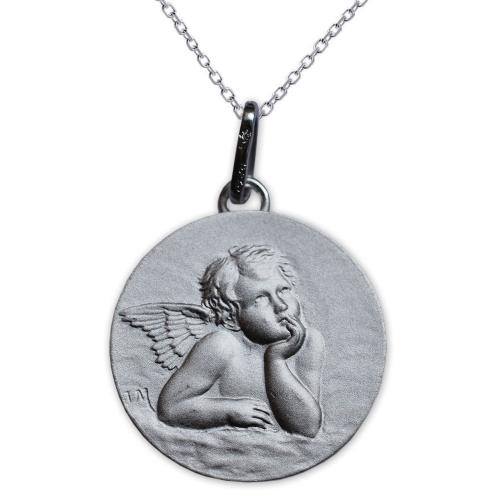 Médaille chérubin de Raphaël en argent massif