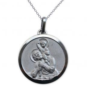Médaille de Saint Christophe en argent massif gravée