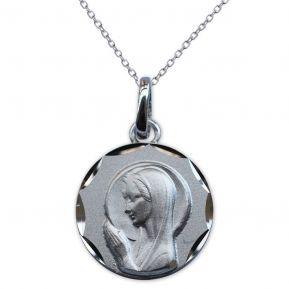 Médaille Vierge Marie en prière en argent massif gravée