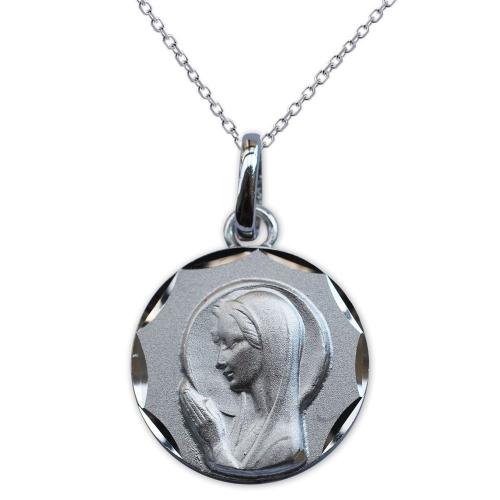 Médaille Vierge Marie en prière en argent massif 925