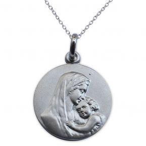 Médaille vierge à l'enfant en argent massif gravée