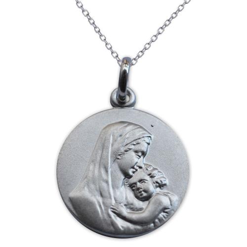 Médaille gravée argent massif vierge et l'enfant