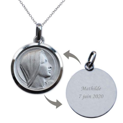 Médaille de la Vierge Marie en argent massif personnalisée