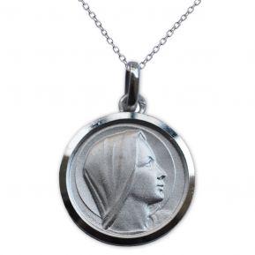 Médaille Vierge Marie en argent massif gravée