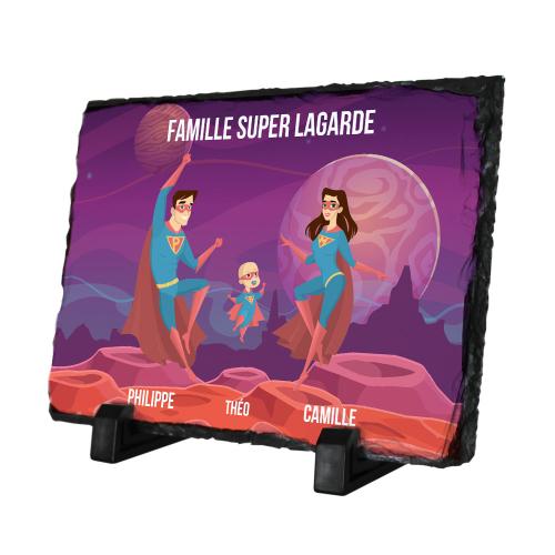 Ardoise rectangulaire ma famille de Super héros