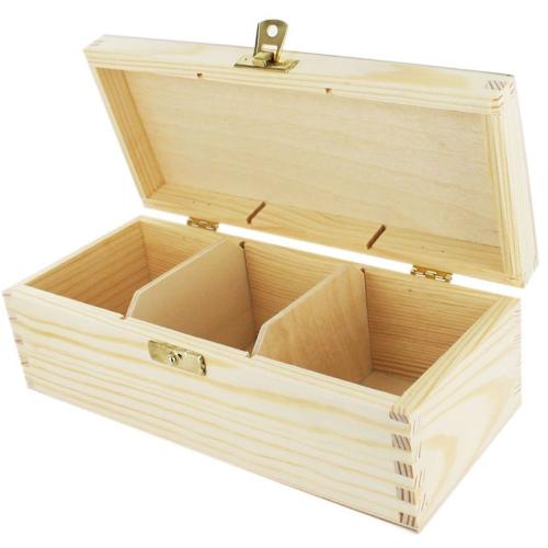 Boîte à thé 3 compartiments ouverte