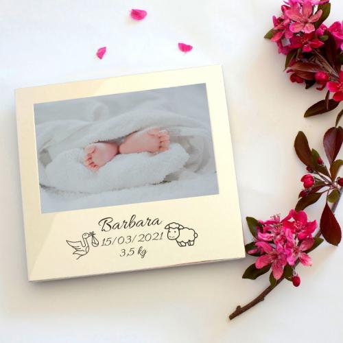 Cadre de naissance ou baptême gravé