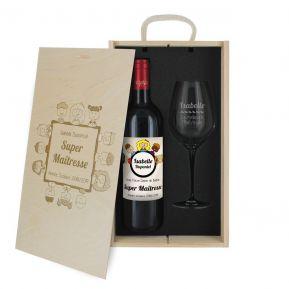 Coffret à vin 2 pièces personnalisé Merci Maitresse