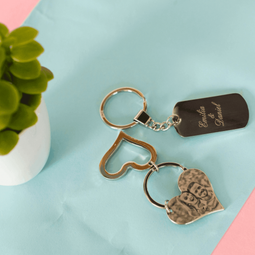 Porte-clés deux coeurs photo