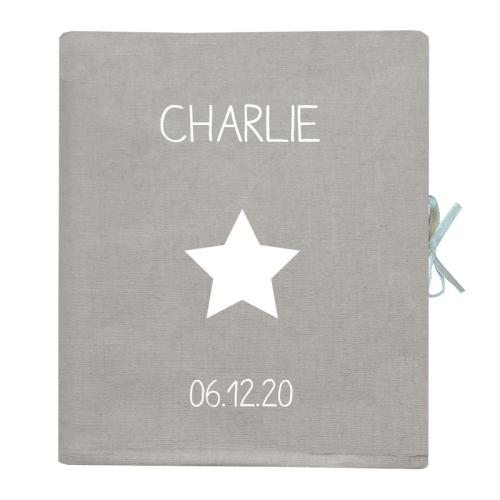 Livre de naissance personnalisé gris