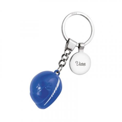Porte-clés casque moto bleu