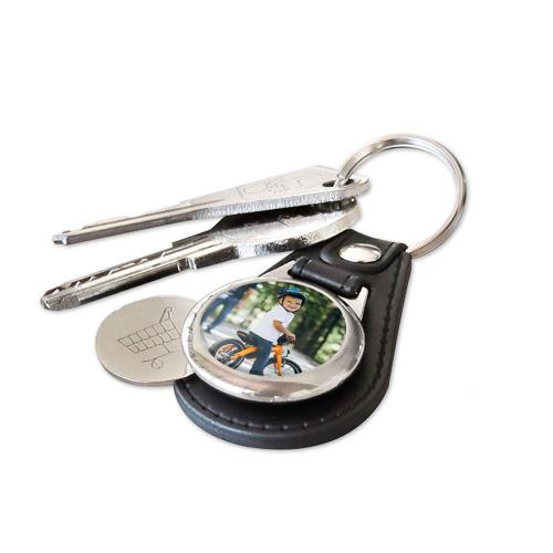 Porte-clés cuir jeton de caddie personnalisé photo