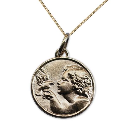 Médaille ange à la colombe en plaqué or personnalisé