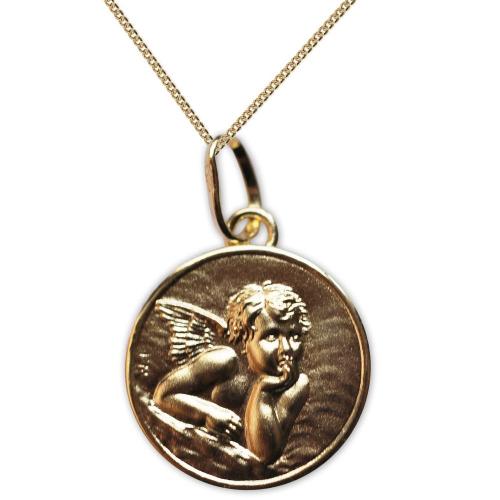 Médaille de baptême Ange Raphaël en plaqué or gravé