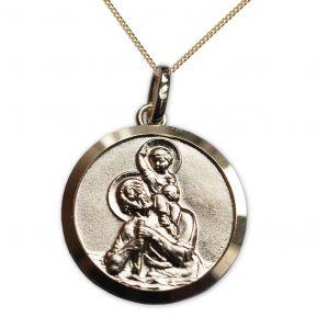 Médaille de Saint Christophe en plaqué or gravée