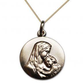 Médaille plaqué or vierge à l'enfant gravée