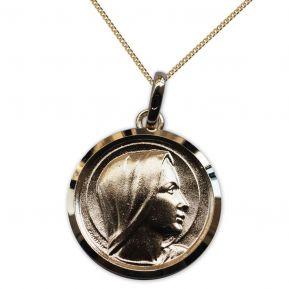 Médaille Vierge Marie en plaqué or personnalisée