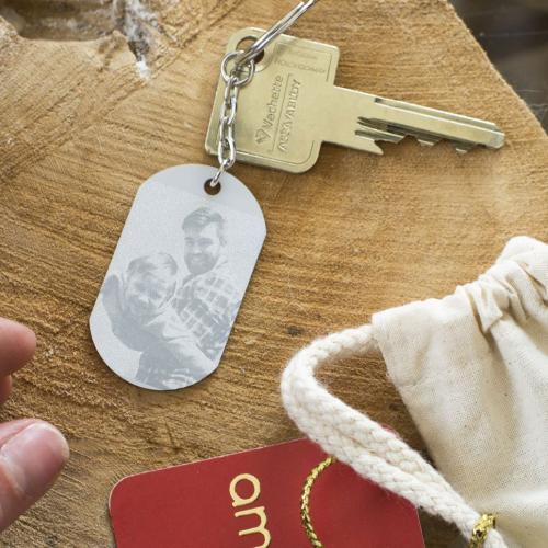 Porte clés plaque gravé avec photo