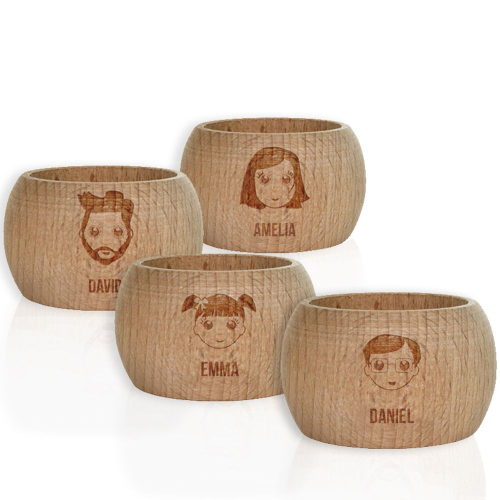 Rond de serviette We are Family en bois