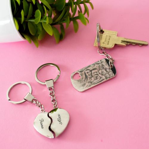 Porte-clés gravé photo ajouré coeur