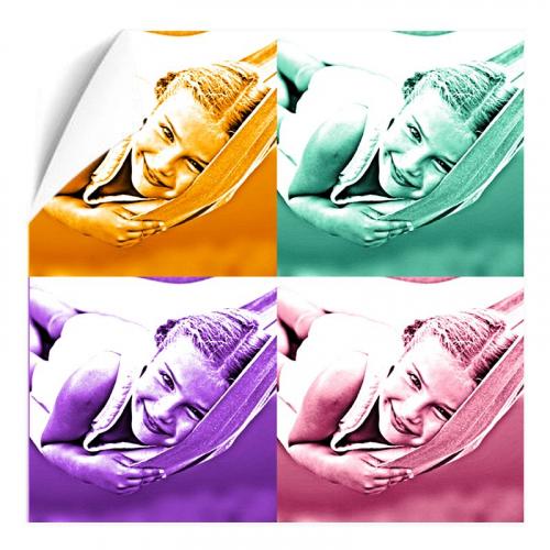 Affiche monochrome carrée 4 portraits