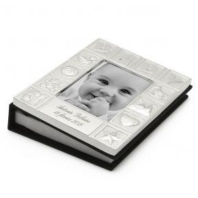 Cadre Album photo bébé en métal argenté