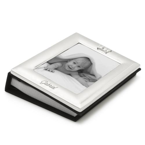 Cadre album photo bébé en métal argenté personnalisé