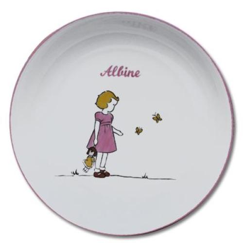 Assiette en porcelaine avec prénom bébé