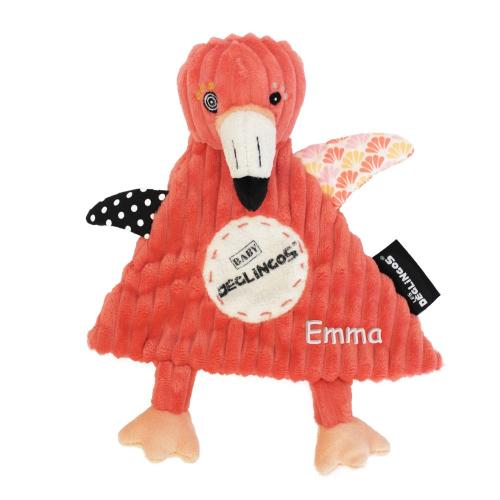Doudou baby Flamingos le flamant rose personnalisé