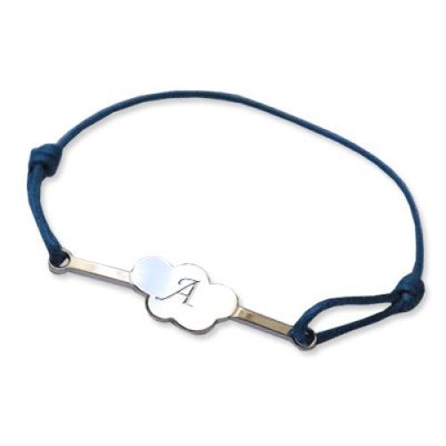 Bracelet barette nuage initiale