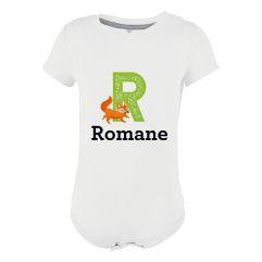 Body bébé alphabet animal personnalisé prénom