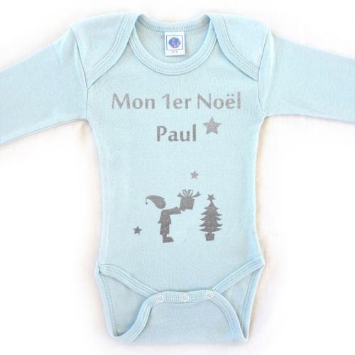 Body personnalisé Noël prénom bleu