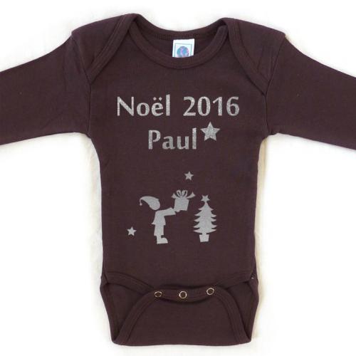 Body personnalisé Noël prénom chocolat