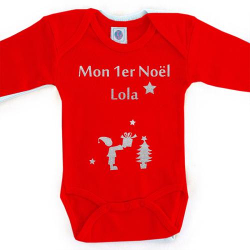 Body personnalisé Noël prénom rouge