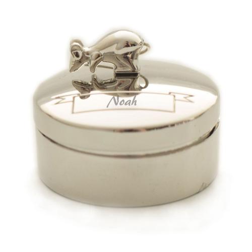 Boite à dent souris en métal argenté