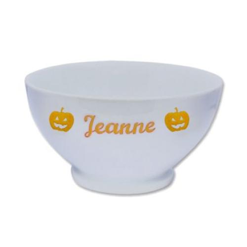 Bol d'Halloween en porcelaine personnalisé prénom