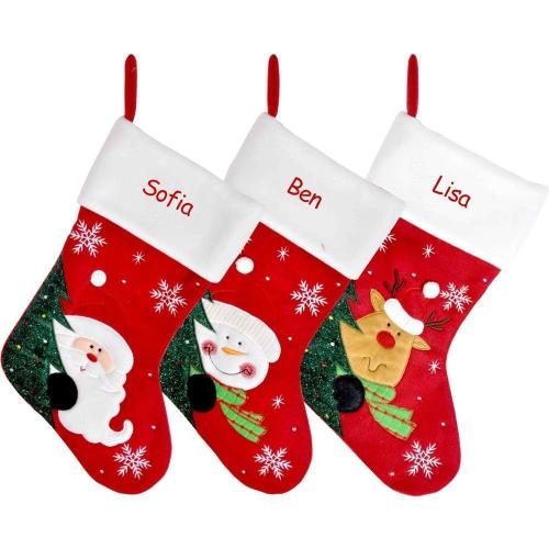 Chaussette de Noël en feutrine rouge personnalisée