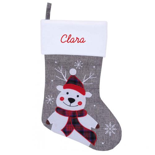 Chaussette de Noël en effet lin grise personnalisée avec un prénom - modèle Renne de Noël