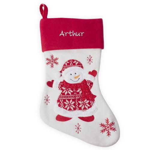Chaussette de Noël Bonhomme de neige personnalisée