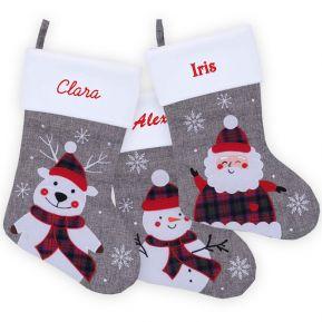 Chaussette de Noël grise effet lin personnalisée