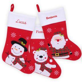 Chaussette de Noël rouge en feutrine brodée prénom