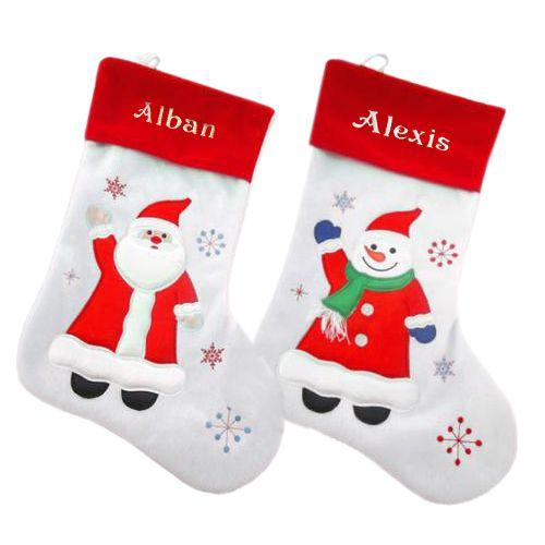 Bottes de Noël blanches brodées