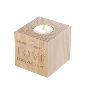 Bougeoir cube en bois gravé Amour