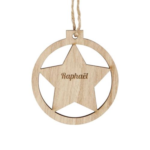 Boule de Noël étoile en bois gravée prénom