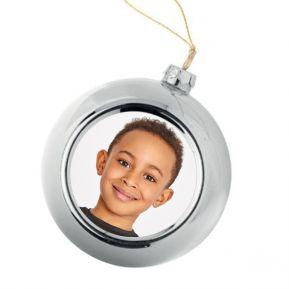 Boule de Noël argentée personnalisée avec une photo